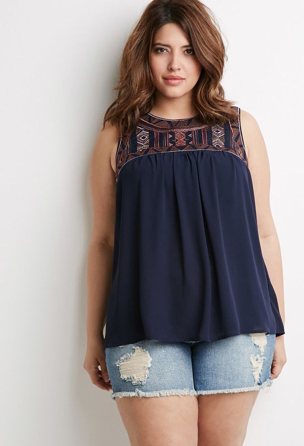 Plus Size Southwestern Embroidered Top