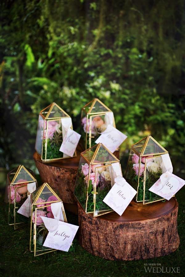 These miniature terrariums are a sweet luxe decor element- perfect as place cards AND favors, boho wedding ideas, bohemian wedding trends, outdoor wedding ideas