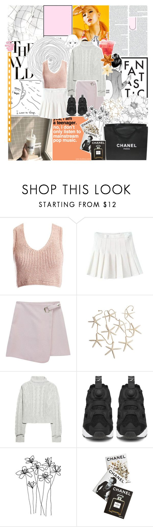 """°○·☆; seulgi as blossom"" by pearliemoon ❤ liked on Polyvore featuring PAM, Sans Souci, Prada, Chanel, Chicnova Fashion, Bamford, Reebok and Assouline Publishing"