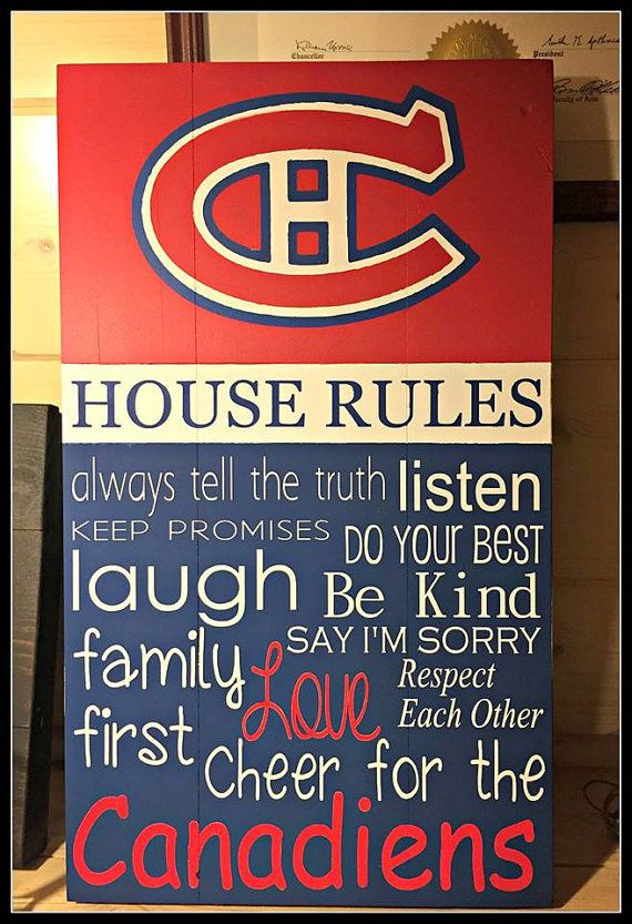 Montreal Canadiens Sign // House Rules // Canadian Flag // Wooden Hand Painted Sign // Habs Sign // Hockey //