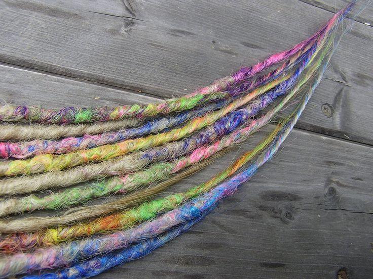 Blonde Rainbow: 10 SE crochet dreadlocks, 50 - 70cm by PopsickDreads on Etsy