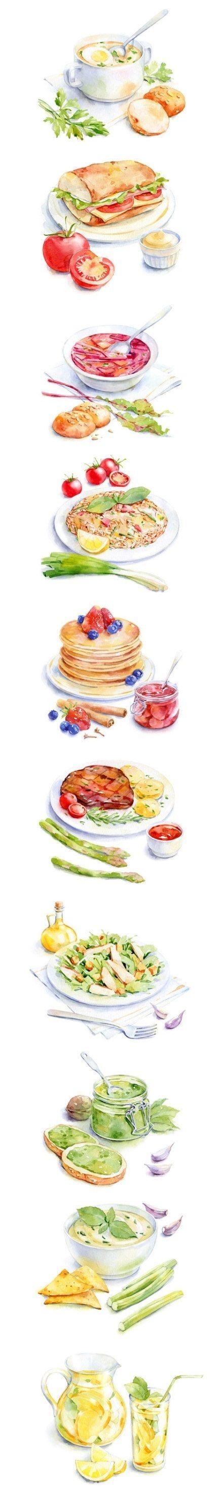 美食水彩画