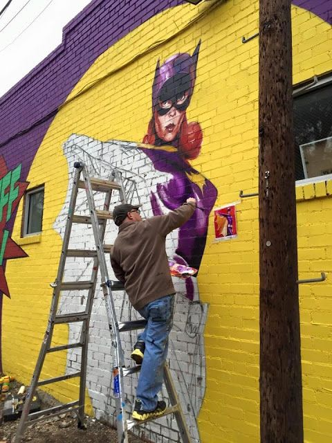 New batgirl yvonne craig tribute wall mural art in dallas texas oakcliffbatgirl
