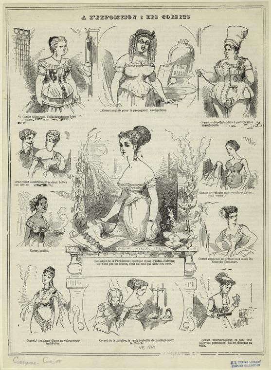 A l'exposition : les corsets. (1867)   New York Public Library  Upper Right corner, Laced and locked! He he he