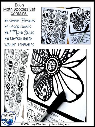 Math Doodles - integrate MATH and ART to practice any math skill you are working on in class. Easy differentiation from K-7