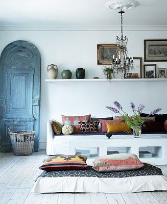 Moroccan inspiration: Decor, The Doors, Blue Doors, Interiors, Living Room, Floors Cushions, Floors Pillows, Old Doors, White Wall