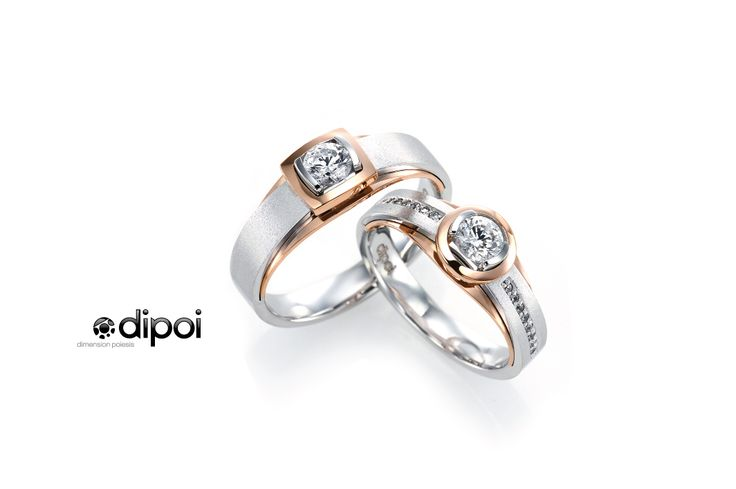 0.3ct Diamond, 750 White Gold, Rose Gold.