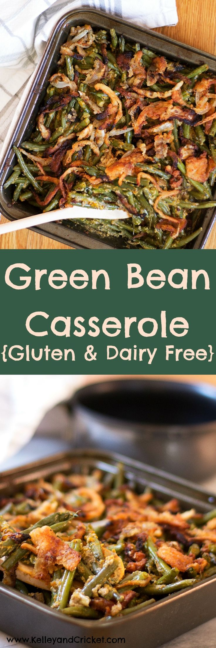 "This Green Bean Casserole is so creamy and crunchy (thanks to the homemade French Fried Onions) and better than the original! You'll never guess it's gluten-free, grain-free, dairy-free, and paleo! (Even though recipe says ""canned goods; cream of mushroom soup"" the soup is actually HOME-MADE & DAIRY-FREE."