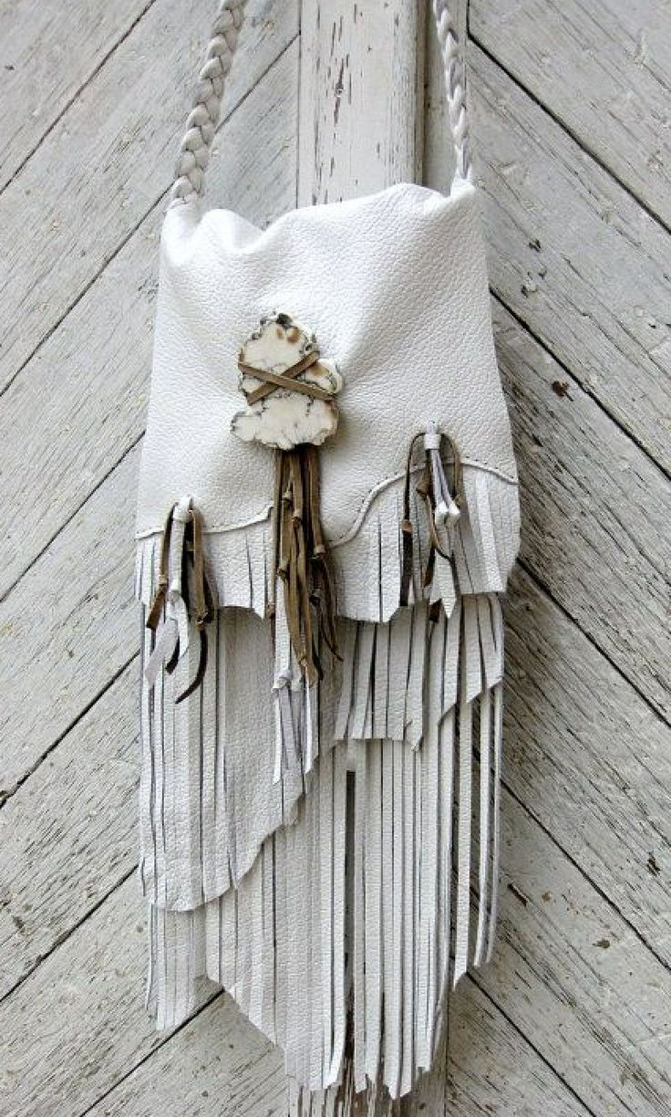 RESERVED for Elizabeth Long Leather Fringe Bag in Snow White by Stacy Leigh Made…