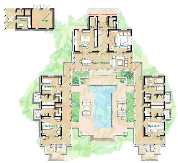 61 best floor plans images on pinterest | courtyard house plans