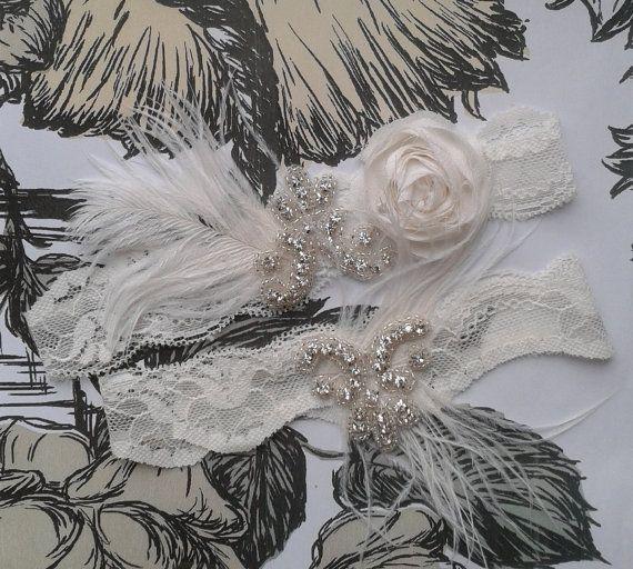 Gatsby wedding garter Ivory wedding garter by ForeverLovedGarters, $30.00