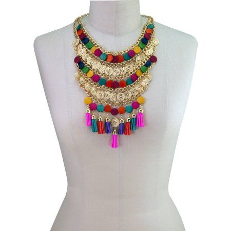 """Free 2-day shipping on qualified orders over $35. Buy Adjustable Moroccan-Inspired Multi-Color Layered Bib Statement Necklace, 18.5"""" at Walmart.com"""