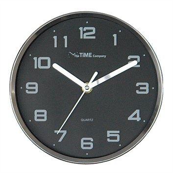 Wall Clocks - Home Decor - Briscoes - The Time Company Clock Parker Silver & Black 20cm