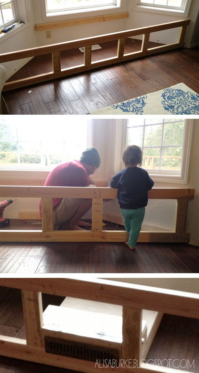DIY window seat solved the vent issue by building a wood box to redirect the heat. Work for a baseboard heater, too?