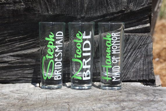 8 Personalized Bridal Party Shot Glasses. Great for by JcDezigns