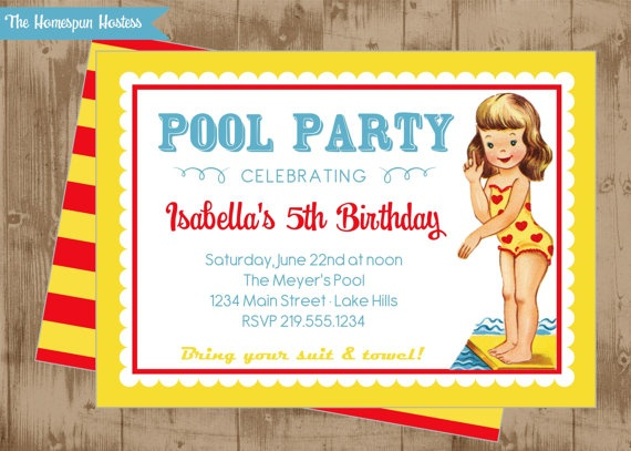 ENTIRE SET Printable Retro Pool Party Invitation and Party Set- favor tags, cupcake toppers, bottle wraps, food tags on Etsy #chillingrillin