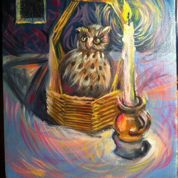 Still life  oil paintings  oil on canvas  owl by ArTvale on Etsy