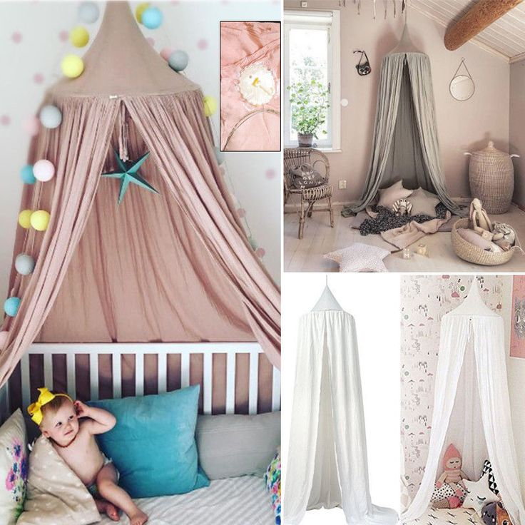 Kids Reading Mosquito Net Bed Cotton Canopy Round Dome Reading Tent Bed Cover AU
