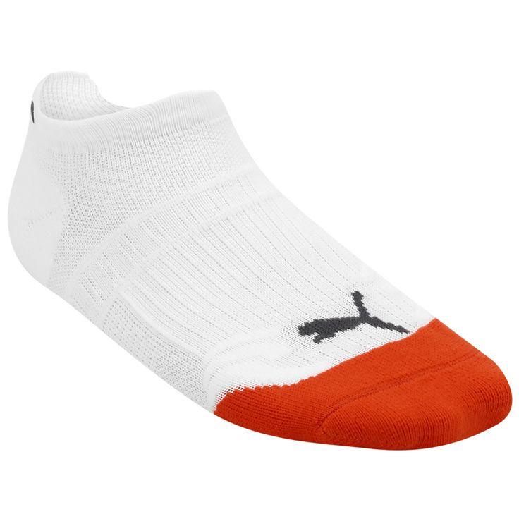 A Meia Puma Poliamida Performance Sem Cano Branco e Laranja é ideal para seus treinos e corridas. Confeccionada com materiais mistos, mantêm seus pés frescos e confortáveis. | Netshoes