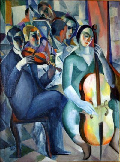 Schönberger Armand (1885-1974)  Zenélők, 1929