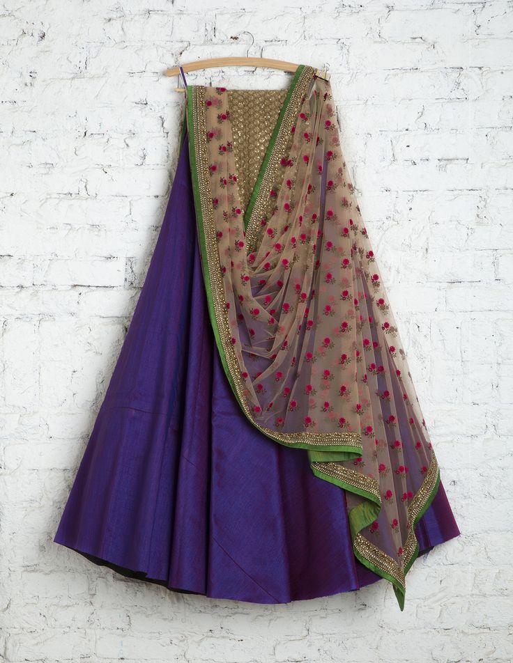 SwatiManish Lehengas SMF LEH 194 17 Royal violet lehenga with floral threadwork dupatta and antique gold blouse