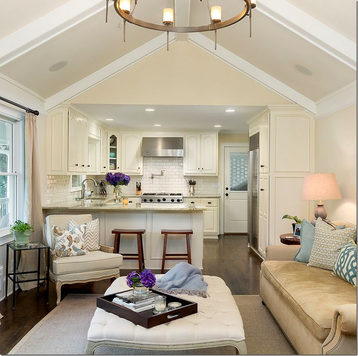 How To Divide An Open Plan Space 9 Ideas: Family Room & Kitchen Open Floor Plan. White Kitchen