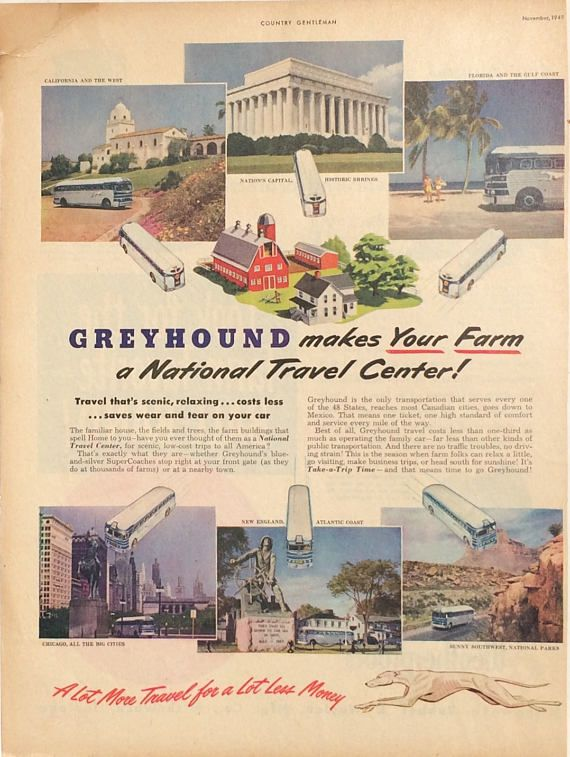 1949 Greyhound bus tours advertisement. In excellent condition. Measures 14 inches by 10 inches. Very minor crease in upper left corner. Has been mounted on a piece of cardboard. This will look beautiful framed. Very nice vintage collectible for a Greyhound dog owner !  Buy as many vintage advertisements as you like, but pay shipping for only one. When you order one ad, all additional ads on the same order ship free.  We carefully package your ad with cardboard to keep it safe during…