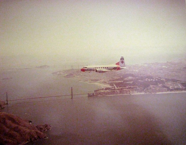 """1st Lt. Jean Carr was aboard this C-131 """"Super COnstellation"""" serving as a flight nurse on this Air Force transport taking wounded soldiers home. They're flying over San Francisco Bay with the Golden Gate Bridge below. Photo provided by Jean Carr"""