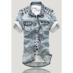 $14.36 Casual Style Shirt Collar Double-Pocket Stud Embellished Short Sleeves Denim Shirt For Men