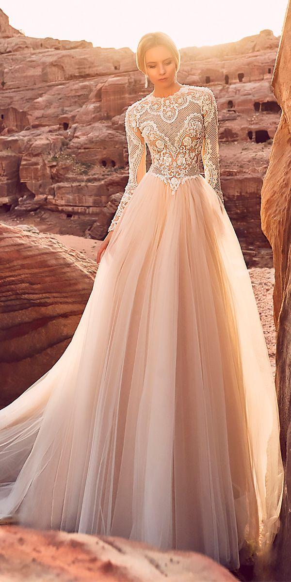 6b812234492d oksana mukha wedding dresses 2018 a line blush illusion lace long sleeves  high neckline #wedding