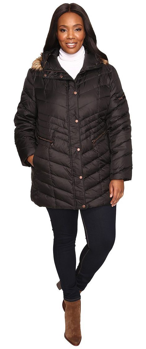 Marc New York by Andrew Marc Plus Size Renee Chevron Down Coat (Black) Women's Coat - Marc New York by Andrew Marc, Plus Size Renee Chevron Down Coat, MW6WH503-001, Apparel Top Coat, Coat, Top, Apparel, Clothes Clothing, Gift - Outfit Ideas And Street Style 2017