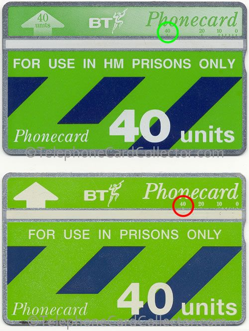 Artwork error: The green circled '40' on the top Prison Phonecard is correct, while the the card below '40' (circled in red) is in the wrong place. It is thought that ALL cards of this later HM Prison Phonecard design carry this error.