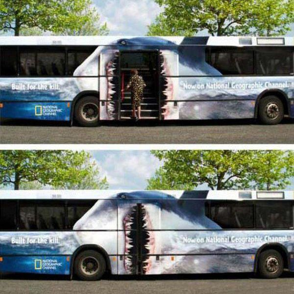 National geographic shark bus wrap top10 vehicle wraps the mouth opens to eat you when