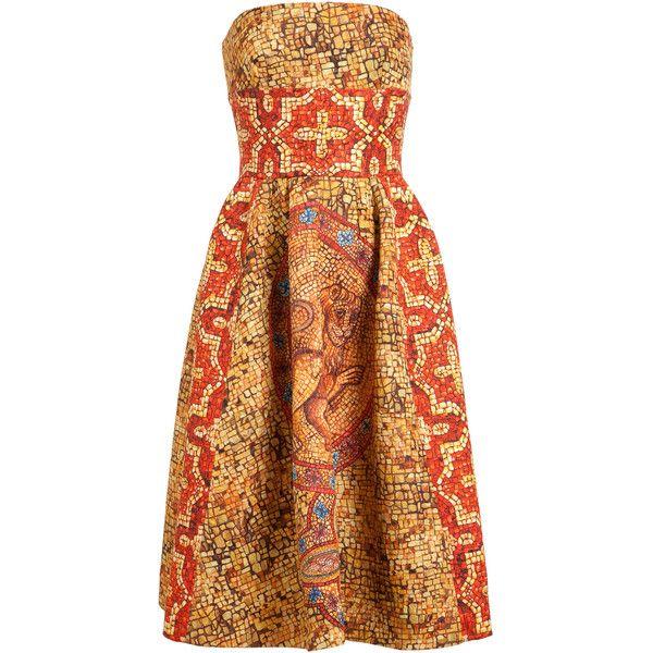 DOLCE & GABBANA Mosaic Printed Silk-wool Bustier Dress found on Polyvore
