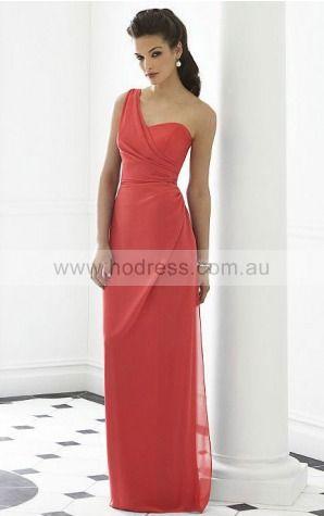 Chiffon One Shoulder Natural Sheath Floor-length Bridesmaid Dresses 0740529--Hodress