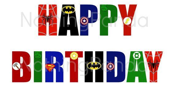 Superhero Happy Birthday Print // Superhero Logo by NothingPanda