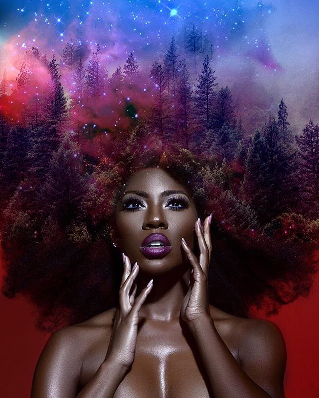 "Pierre Jean-Louis says he sees Mother Nature in black women. He translates this by turning black women's natural hair into breathtaking natural and celestial scenes in his series ""Black Girl Magic."""