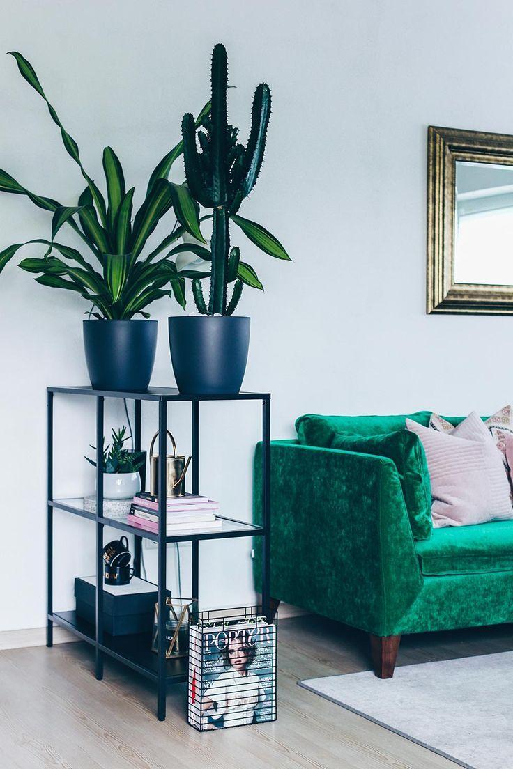 Unsere neue Wohnzimmer-Einrichtung in Grün, Grau und Rosa ...