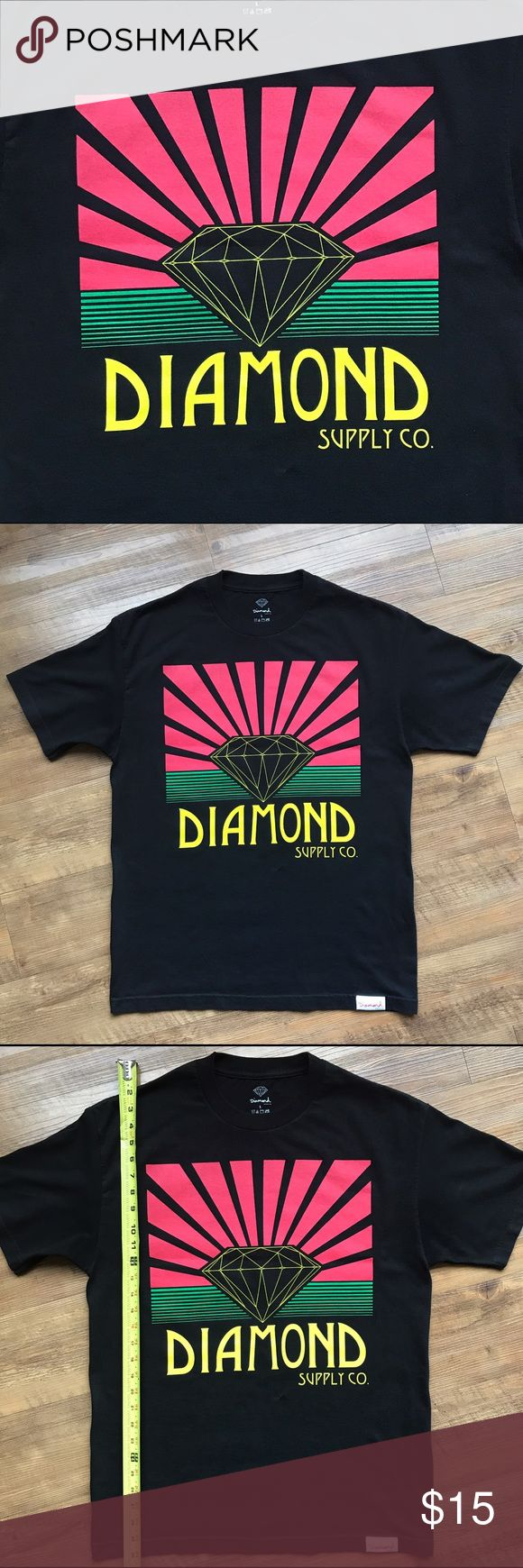 "Diamond Supply Co. - Oversized Logo Tee Shirt BLACK Diamond Supply T-Shirt - RED/YLW/GRN ""Rising Sun"" Logo - Size: Large - GENTLY USED, EXCELLENT CONDITION Diamond Supply Co. Shirts Tees - Short Sleeve"