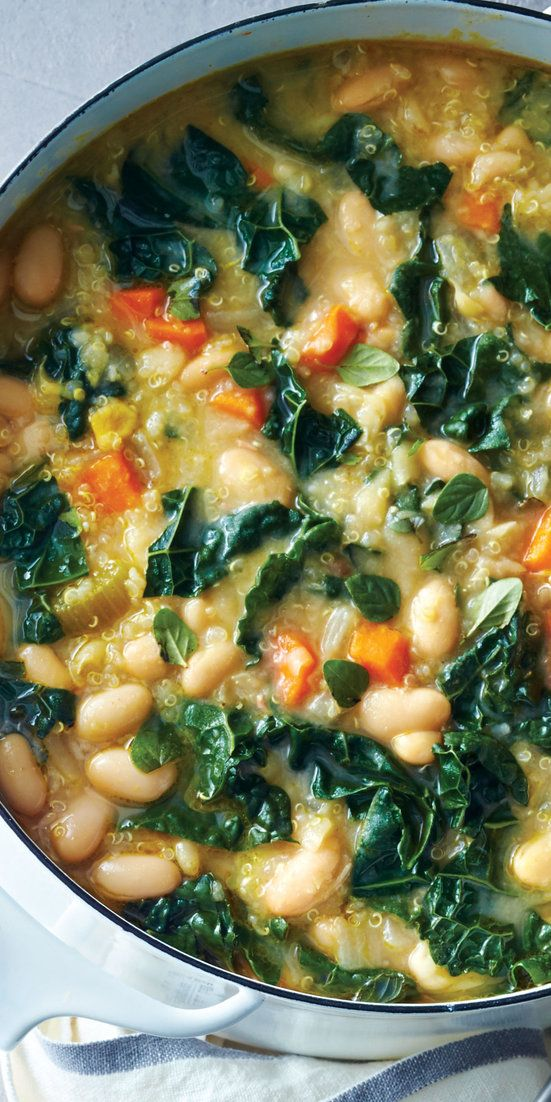 Vegetarian White Bean Chili  - Craving comfort food? These tasty bowlfuls of healthier chili fill you up without weighing you down.