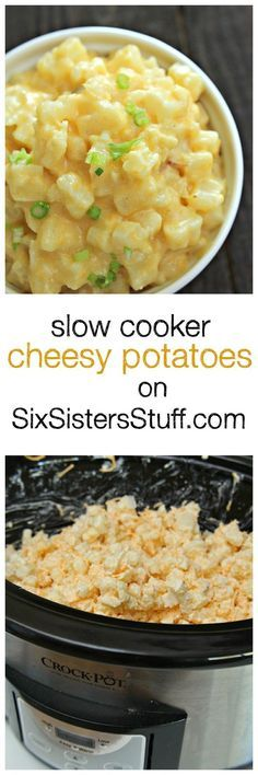 Slow Cooker Cheesy Potatoes on http://SixSistersStuff.com | Creamy, Cheesy Potatoes | Crock Pot Sides | Dinner Side Ideas | Slow Cooker Recipes