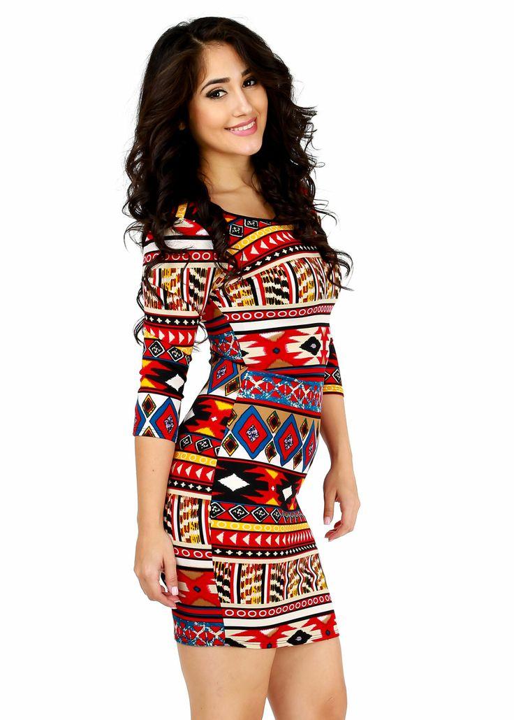 Trendy Dresses-Cute Scuba Dress-Tribal Print Bodycon Dress