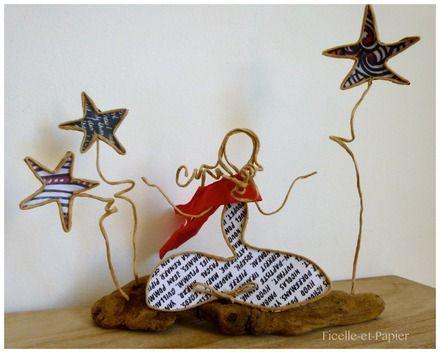 Figurines en ficelle de kraft armé et papiers originaux A l l'heure où, au firmament, les étoiles se mettent à briller, notre jeune fille commence sa séance de yoga ... - 20828772