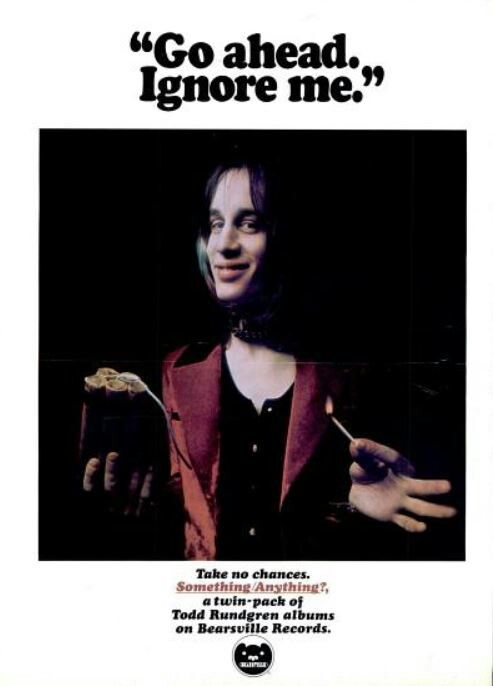 """TODD RUNDGREN - 1972 Bearsville """"Go Ahead and Ignore Me"""" print ad, promoting his genius """"Something Anything"""" twin pack of albums."""