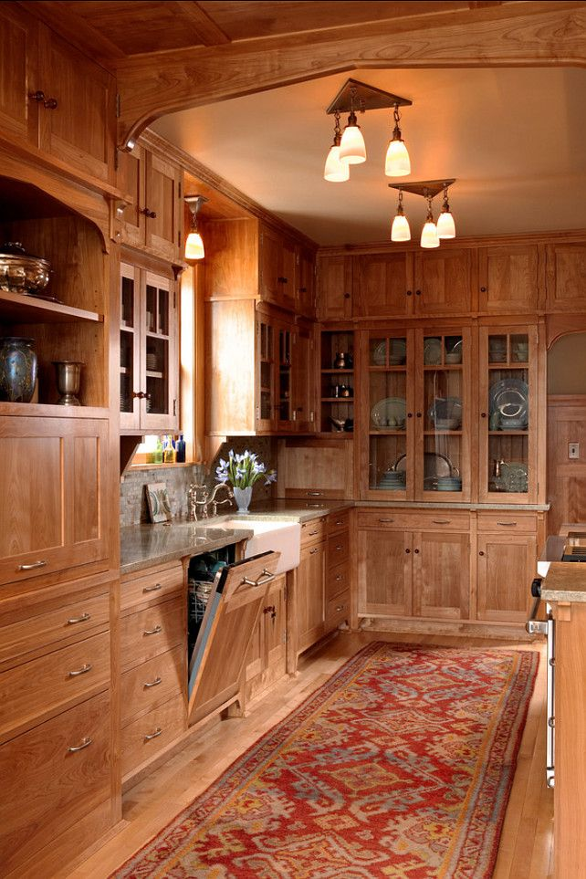 Stained Wood Kitchen Cabinetry U2013 Shaker Panel Doors Plus Glass Doors On  Some Upper Cabinets U2013 The Wood Species Is Red Birch For The Cabinets And  Floor ...