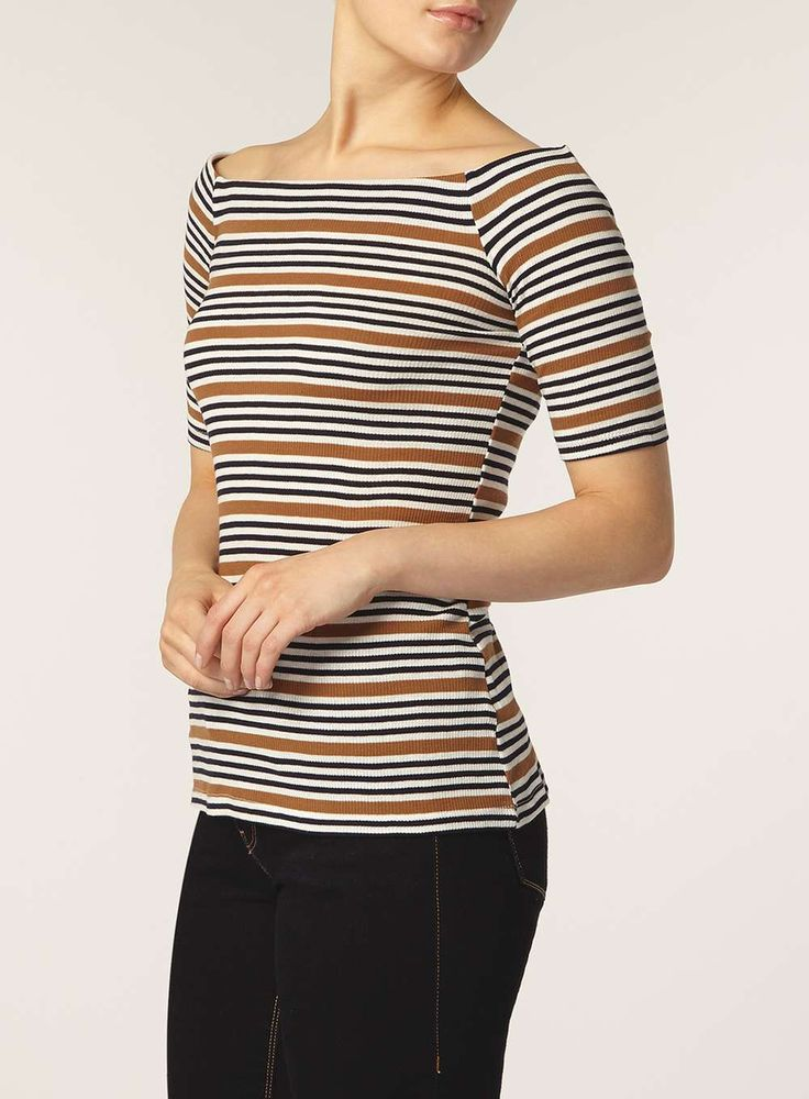 Navy and brown stripe bardot top