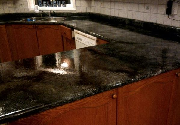 Faux-granite countertop! Just a little paint and elbow grease! - HOME SWEET HOME