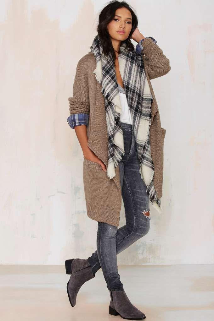 drape cardigan // plaid scarf