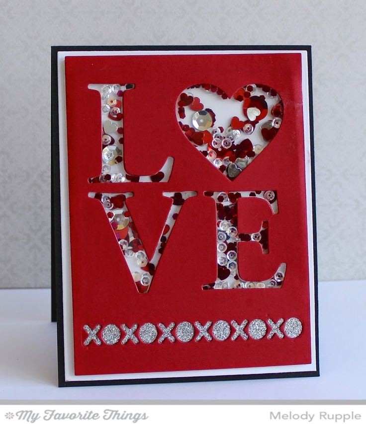clever technique for this shaker card die cut the foam back with the same die as the front panel red sliver and white rhinestones sequins and gems fill - Pinterest Valentines Cards