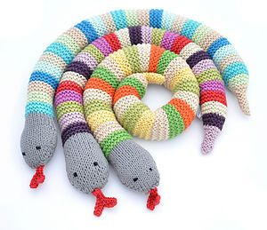 Knitted Snake Toy Rattle - soft toys & dolls